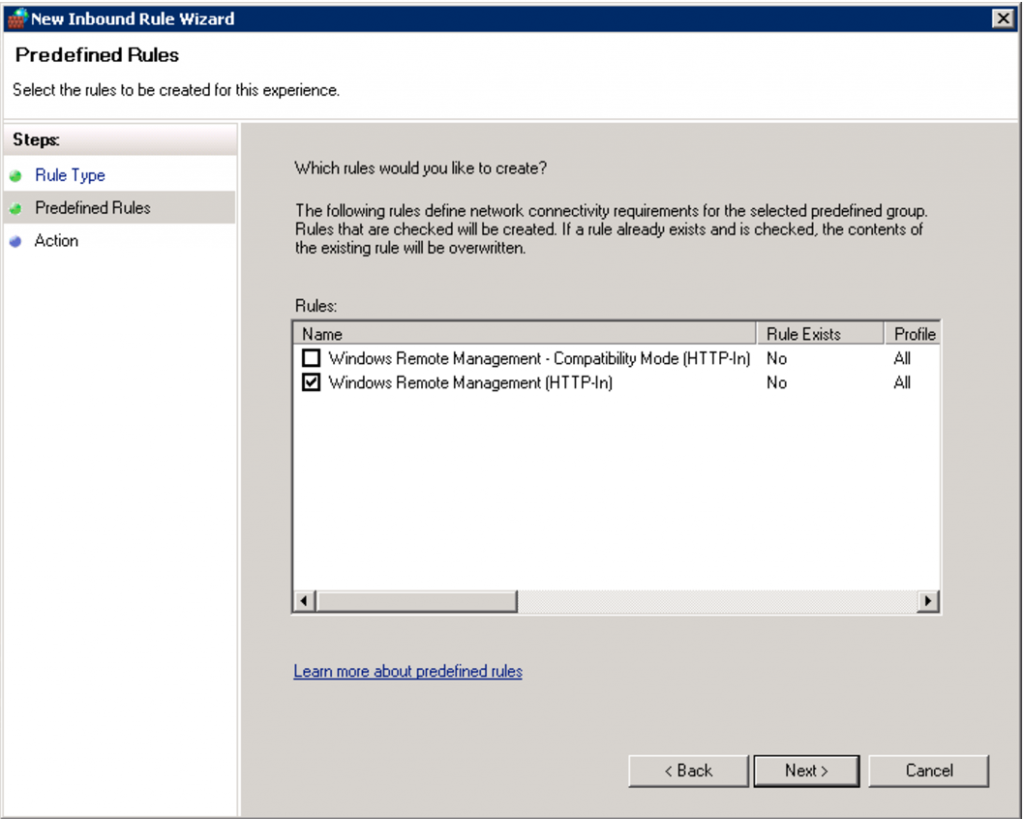 How to enable WinRM - Step 10